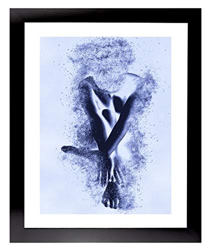 Cornice Misano 98 x 75 cm Cornice MDF Colore Nero Lucido in Stile Moderno con Vetro Artistico Trasparente 1 mm