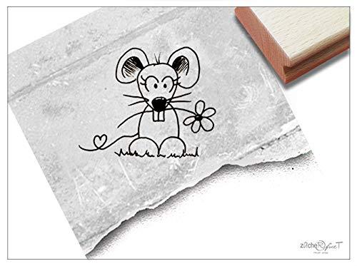 Stempel Tierstempel Maus Mausezahn - Kinderstempel Geschenk für Kinder Kita Kinderzimmer Schule Einschulung Geburtstag Basteln Deko - zAcheR-fineT