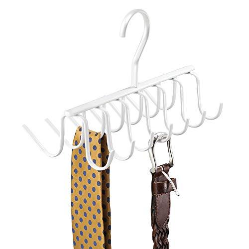 mDesign Hakenleiste als Kleiderbügel – EIN praktischer Krawattenhalter und Gürtelhalter mit 14 Haken für den Kleiderschrank – weiß