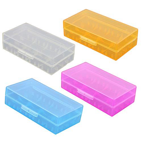4Pcs Plastique Boîte de Rangement de la Batterie pour Piles Rechargeables Organisateur Boitier Batterie Accu Protection Case Box étuis Transport pour 18650/16340 / CR123A Batteries