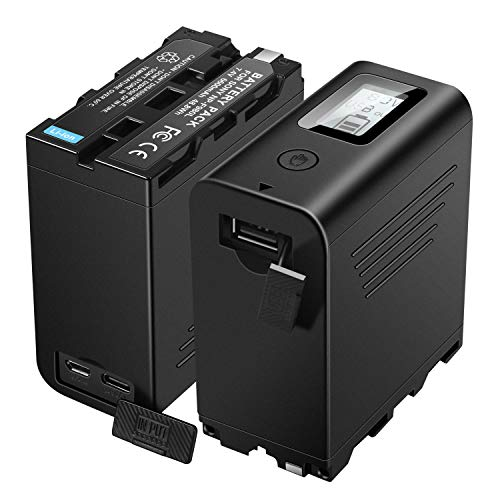 KUNLUN 2 Pack Replacement Sony NP-F970 Battery Compatible with Sony DCR-VX2100 DSR-PD150 FDR-AX1 HDR-AX2000 HDR-FX1 HVR-HD1000U Video Light Batteries with Micro USB Cable F980 F770 F975 F960