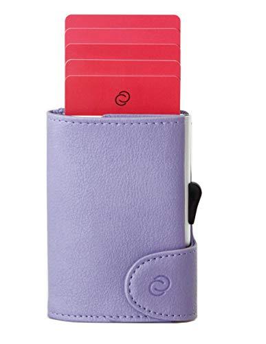 Smart Wallet mit Aluminium Kartenhalthalter (RFID Block) - Kompakte Geldbörse & Kartenetui- Für Karten, Geldscheine und Münzen - Aus hochwertigem PU-Leder - C-secure (Flieder)