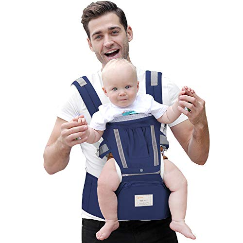 360° Ergonomic Baby & Child Carrier Hip Seat All Carry Positions for Infant Toddler and newborn Soft Structured Carrying Sling bag Cotton Carries children from 3 to 36 months (Gray)