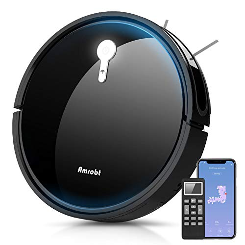 Robot Vacuum Cleaner,Amrobt 1800Pa Strong Suction Smart Mapping Robotic Vacuum Cleaner Works with Alexa,Self-Charging Robot Mop,Vacuum Cleaner Pet Hair Ideal for Hard Floor and Low Pile Carpet