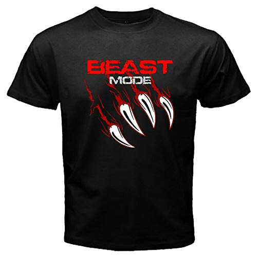 Beast Mode Claws Logo Marshawn Lynch Black T-Shirts Men's Tee