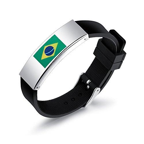 WONS Pulsera,Vendimia Inoxidable Acero Silicona Pulsera,Fútbol Tema Esposas por Hombres Mujer Multa Obra/Brasil/Adjustable