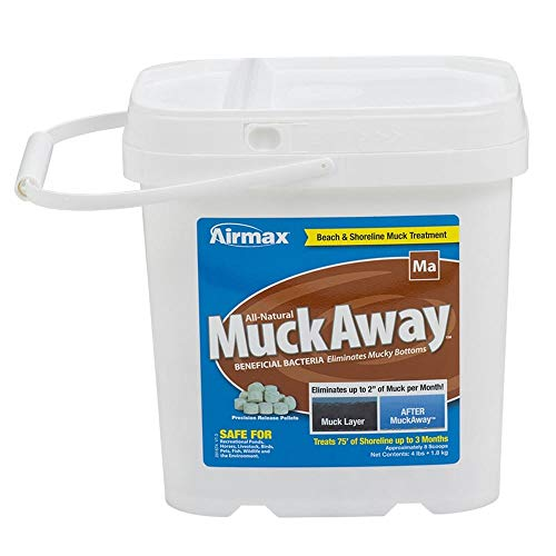 Airmax MuckAway Natural Pond Muck Reducer, Removes Up to 2' of Muck Per Month Target Beaches & Shorelines, 8 Scoops