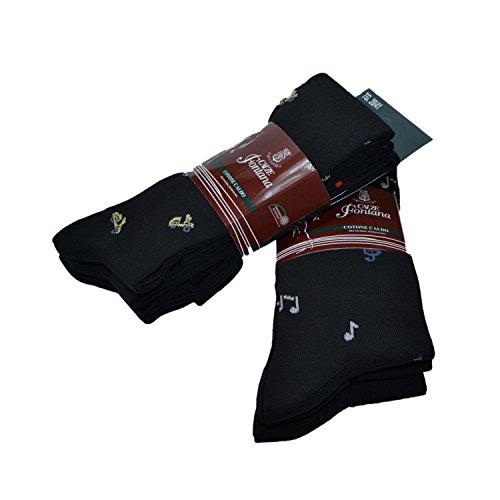 Fontana Calze, 6 paia di calze lunghe nere in caldo cotone elasticizzato rinforzate su punta e tallone modello fantasia. Prodotto Italiano. 45/47