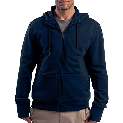 SCOTTeVEST Men's Hoodie Cotton Zip Sweatshirt | 21 Pockets | Anti-Pickpocket Navy