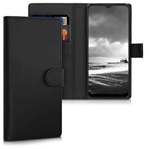 kwmobile Wallet Hülle kompatibel mit Alcatel 3X (2019) - Hülle Kunstleder mit Kartenfächern Stand in Schwarz