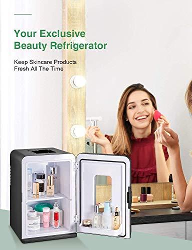 Mini Kühlschrank 15 Liter Tragbare Kühlschränke mit Kühl- und Heizfunktion, 220 V AC/ 12 V DC für Auto und Haushalt, Thermoelektrischer Mini-Kühlschränke für Hautpflege und Kosmetik (ECO-Modus) 3