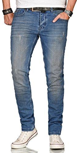 A. Salvarini Designer Herren Jeans Hose Regular Slim Fit Style Jeanshose Stretch[AS-082 - W36 L34]