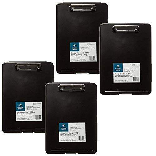 Business Source Plastic Storage Clipboard - Black - Letter-Size (37513) - 4 Pack (Renewed)