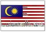 Kühlschrankmagnet, Motiv Kuala Lumpur City Skyline mit Flagge von Malaysia, klassischer Kühlschrankmagnet
