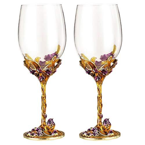 SOIMISS 2 copas de vino esmaltadas Iris artesanales de champán, copas decorativas...