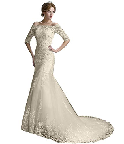 Emmani Women's Off The Shoulder Mermaid Wedding Dress 1/2 Sleeves Lace Bridal Gown with Train Ivory