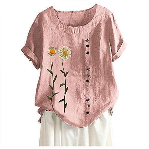 ✦HebeTop✦ Plus Size Tops Women Vintage Short Sleeve Cotton Linen Blouse Early Autumn O-Neck Cartoon Print Blouse Top T-Shirt