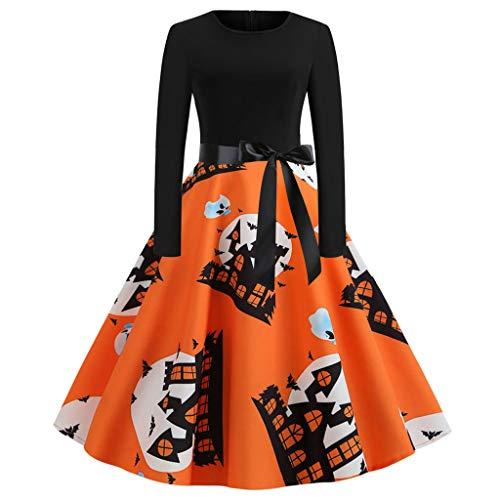 Vestidos Invierno Mujer,Yusealia Vestidos De Fiesta Mujer Halloween Ropa, Mujer Casual Vestido Vintage de Fantasma Calabaza Impresin,Dama Sexy Y Elegante Verano Manga Larga (S, Y1-Naranja)