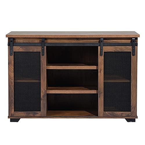 Mobile porta TV in legno effetto noce per soggiorno, credenza per sala da pranzo, armadio per vino, credenza con 2 ante scorrevoli, 3 ripiani