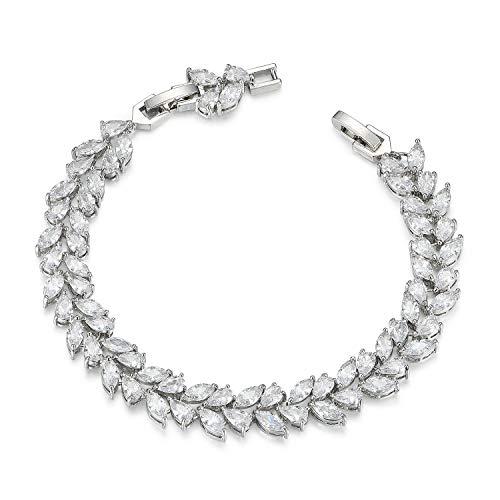 SWEETV Wedding Bridal Bracelet for Brides, Cubic Zirconia Classic Tennis Bracelet for Women Jewelry Gift, Silver