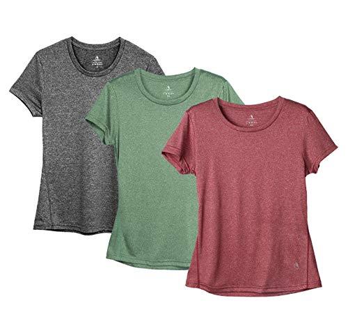 icyzone Sport T-Shirt Damen Kurzarm Laufshirt - Trainingsshirt Fitness Shirt Oberteile Rundhals (XXL, Charcoal/Burgundy/Turf Green)