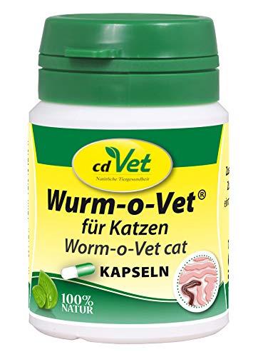 cdVet Naturprodukte Wurm-o-Vet Katze 12 Kapseln - Katze - Ergänzungsfuttermittel - Darmunterstützung - Mangel an Kräuterinhaltsstoffen - Organismusstärkung - überhöhter Wurmbesatz - Gesundheit -