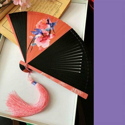 XKMY Abanico de mano chino, clásico, pequeño, de bambú, para danza, portátil, para mujer, pintado, Abanicos para Boda Abanico de Mano Abanico de Verano (color: A4)