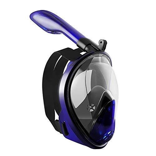 PXDM Mascarilla Facial de Snorkel, 180 ° Vista panorámica de Buceo Snorkel máscara Anti-Niebla con la acción de la cámara de Montaje para Adultos y Adolescentes,Púrpura