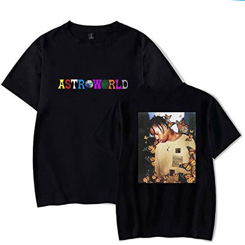 JJZHY Travis Scott Album T-Shirt en Coton imprimé Double Face personnalisé Astroworld Unisexe,Noir 02,M