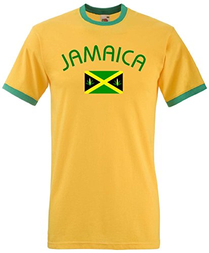 Jamaica /Jamaika Ringer T-Shirt Reggea Kingston-Gelb-M