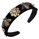 DONGD Retro Bee Haarband Stirnband für Frauen Mädchen Breites Haarband Kopf auf weiblichem Haar Reifenband Flower Pearl Kopfbedeckung, Typ 02