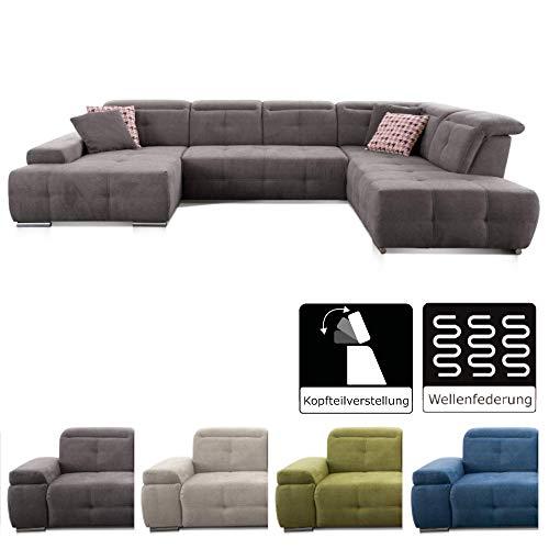 CAVADORE Wohnlandschaft Mistrel mit Ottomanen rechts / XXL-Sofa in U-Form / Inkl. Kopfteilverstellung / Couch mit aufwendiger Steppung / 343 x 77-93 x 228 / Kati Fango
