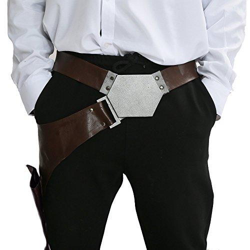Halloween Gürtel Cosplay Kostüm Herren Braun Leder Bund mit Pistolenhalfter Fancy Dress Kleidung Zubehör