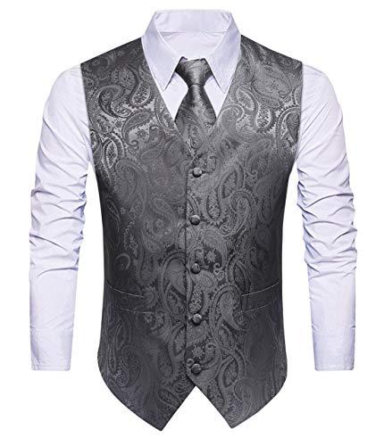 HISDERN Herren Paisley Hochzeitsweste Krawatte Einstecktuch Taschentuch Jacquard Weste Anzug Set Splitter Grau