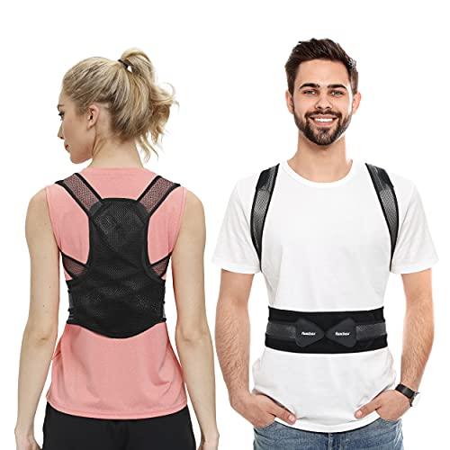 Roadbox Rücken Geradehalter, Komfortable Atmungsaktiv Haltungskorrektur Herren Damen Eine Verbesserte Körperhaltung Schmerzlinderung für Freizeitkleidung (Schwarz, L(80-100CM))