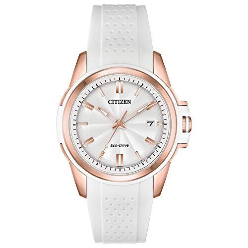 Citizen Drive - Reloj de cuarzo para mujer, acero inoxidable, correa de silicona, color blanco, 20 (modelo: FE6136-01A)