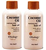 Oliology Coconut Hair Oil - Lightweight Formula Helps Repair Distressed Hair Caused by Heat Styling & Chemical Treatments   Mends Split Ends   Controls Frizz   Made in USA & Paraben Free (4oz/2 Pack)