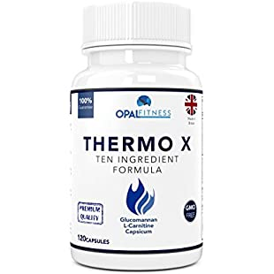 Thermo X Fat Burner Capsules | Glucomannan (Konjac Fibre), L-Carnitine, L-Tyrosine, Green Coffee Bean, African Mango, Chromium | Ten Ingredient Formulation | 100% Safe & GMP Certified | OSHUNsport:Karatsell