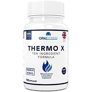 Thermo X Fat Burner Capsules | Glucomannan (Konjac Fibre), L-Carnitine, L-Tyrosine, Green Coffee Bean, African Mango, Chromium | Ten Ingredient Formulation | 100% Safe & GMP Certified | OSHUNsport