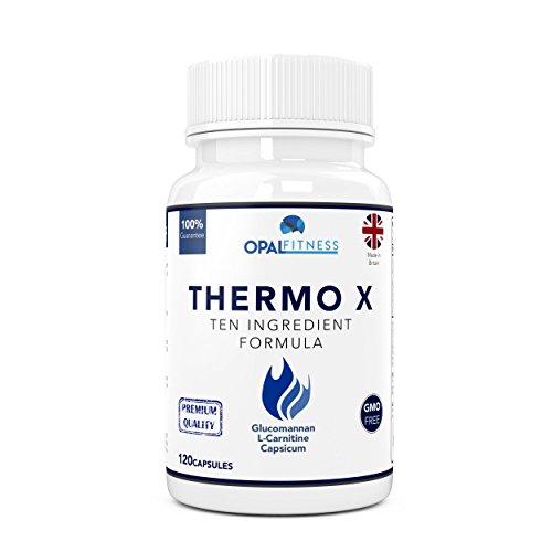 Thermo X Fatburner-Kapseln von Opal Fitness - Glucomannan-, Carnitin- und Grüner-Kaffeebohnen-Fettverbrenner