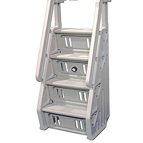 Vinyl Works Deluxe Adjustable 32 Inch in-Pool Step Ladder Entry System for Above Ground Swimming Pools, White