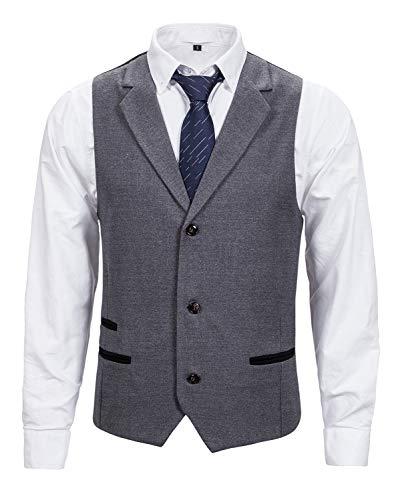 XXIE Herren Tweed Anzug Weste V-Ausschnitt Business Hochzeit Anzugweste Grau Small