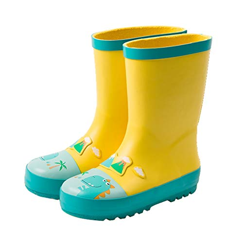 Historieta de la impresión Botas de Lluvia niños y niñas Botas de Lluvia Antideslizantes Botas de Agua del Material de Caucho Resistente En el jardín (Color : Yellow, Size : 22.7cm)