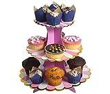 Etagere 3 Etagen Muffin Deko Cupcake Ständer Pappe 3-stöckig Babyparty Tortenständer Pappständer Muffinständer Groß (rosa)