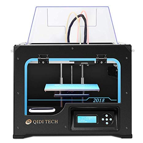 QIDI Technology Dual Extruder Desktop 3D Printer QIDI TECH I, Fully Metal Frame Structure, Acrylic Covers, with2 Free Filaments, Works with ABS,PLA
