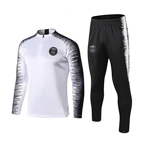 HL-TD Dauerhaft Fußballtraining Uniform der Männer Breath Langarm Weiß Sportanzug - A1014 Beiläufig (Color : White, Size : M)