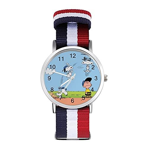 Montre bracelet style dessin animé Snoopy en verre et miroir tressé - Style décontracté - Convient pour le bureau, l'école, les hommes et les femmes - Cadeau idéal