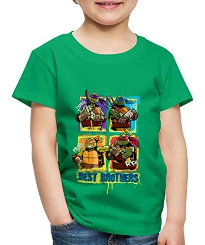 TMNT Turtles Donnie Leo Mikey Raph Best Brothers Kinder Premium T-Shirt, 122-128, Kelly Green