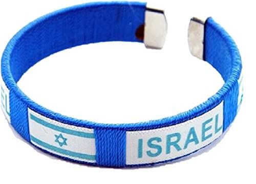 Pulsera con diseño de estrella de David de Israel con la bandera de Israel de Israel de la bandera de Israel 19 cm / 7.48 inch azul