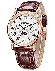 Time100 多機能男性腕時計 ローマ数字 日付 曜日表示 昼夜表示 Japan Movt W80035G (ホワイト)